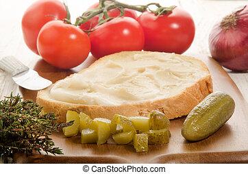 lard on a slice of bread