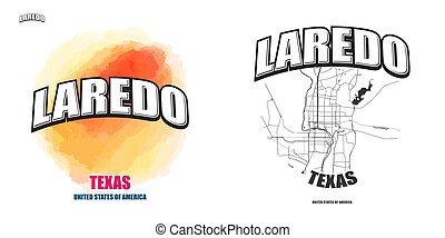 laredo, logotipo, texas, opere, due