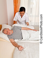 lares, amamentação, idoso, enfermeira, envelhecido, cuidado