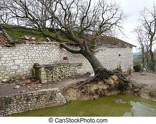 lares, destruído, durante, um, tempestade