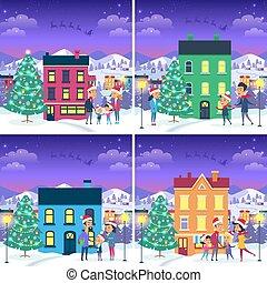 lares, jogo, famílias, natal, quadros
