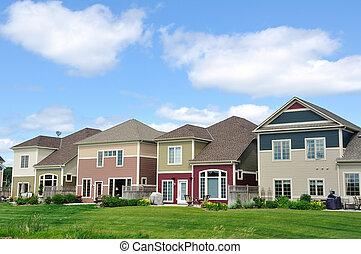 lares, suburbano, multi-colorido