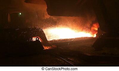 largage, fournaise, métal, explosion, liquide