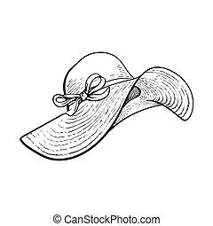 large, été, paille, attribut, mode, vacances, rabats, chapeau