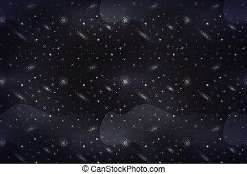 large, étoiles, espace, lotissements, fond, profond, galacticas, blanc, dessin animé