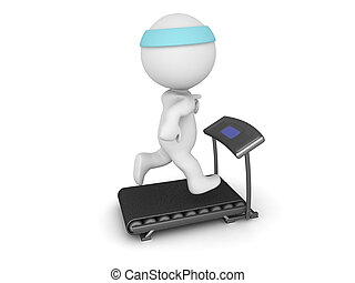 Large 3D Character Running on Small Treadmill - Large 3D...
