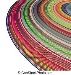 large 3d render concentric pipes in multiple colors on white