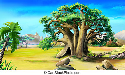 Digital painting of the African baobab in a summer day.