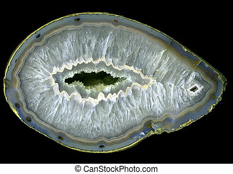 Large agate geode - Huge open agate geode, against a black...