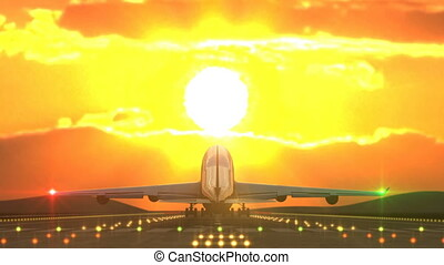 Large aircraft landing against sunset caught by camera -...