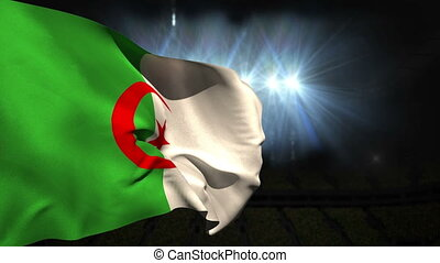 Large algeria national flag waving on black background with...