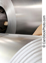 Large aluminium steel rolls in the factory