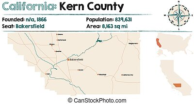 Large and detailed map of California - Kern county.