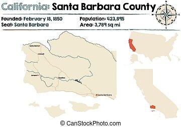 Large and detailed map of Santa Barbara county in California