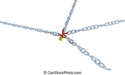 Large and Diagonal View of Four Long Chains with Four Red Link Locked with a Padlock