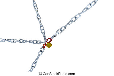 Large and Diagonal View of Four Long Chains with Two Red Link Locked with a Padlock