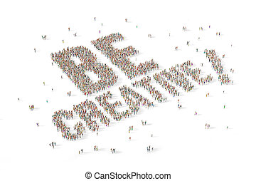 Large and diverse group of people gathered together in the shape of the word be creative