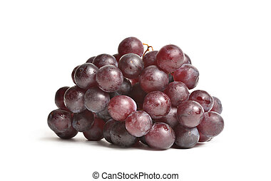 Large and ripe red grapes on a white isolated background