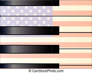 Large and Small Old Glory Keys - Black and white piano keys...