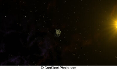 Large asteroid surrounded by smaller ones. Deep space,...
