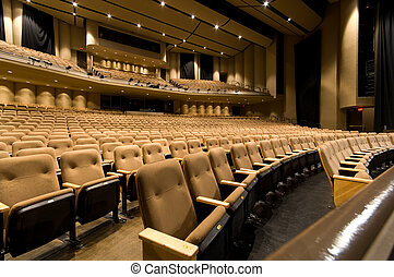 Large auditorium - Large empty auditorium or theater with...