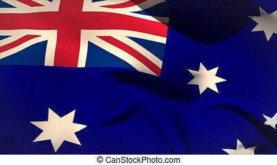 Large australia national flag waving filling the screen