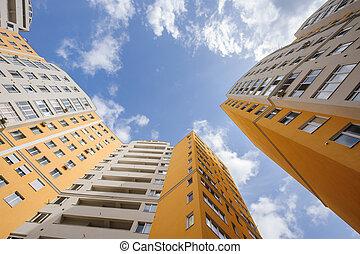 large, bâtiments, angle, résidentiel, nouveau, coup