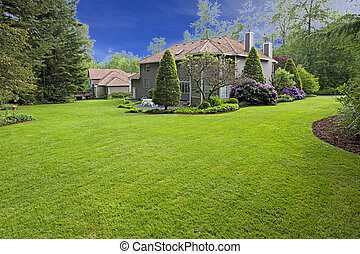 Large back yard of the nice brown house