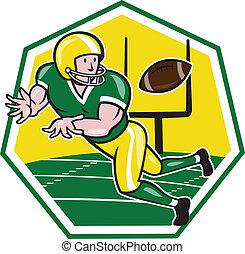large, balle, football, américain, attraper, récepteur, dessin animé