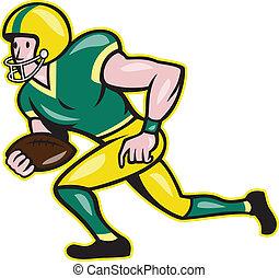 large, balle, football, américain, courant, récepteur