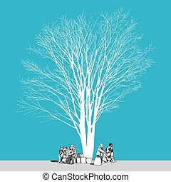Large bare tree without leaves and people Hand drawn - The...
