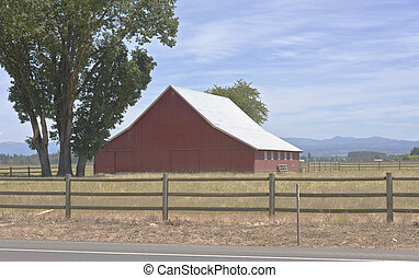 Large barn in a field Oregon.