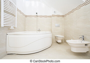 Large bath in luxurious bathroom - The large bath in the...
