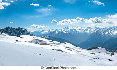 Large beautiful alpine landscape in winter