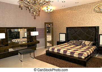 large bedroom with a bed and night table