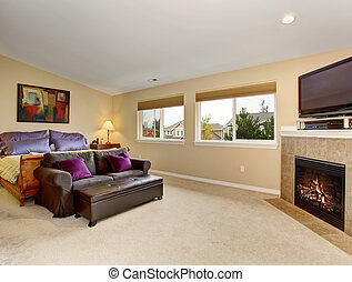 Large bedroom with fireplace and tv.