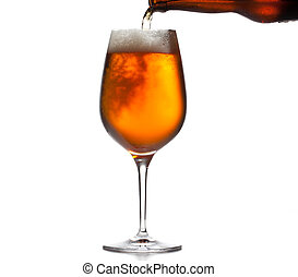 Chilled isolated beer goblet with small droplets of condensation on the outside of the glass and filled with golden colored beer being poured from brown bottle