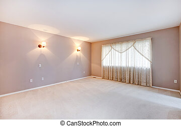Large beige bedroom with lights and curtains.