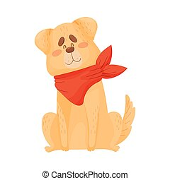 Large beige dog is sitting. Vector illustration on a white background.