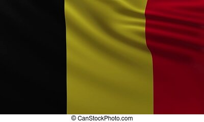 Large Belgian flag background in the wind