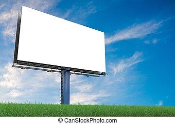 Large billboard against blue sky. 3D rendered illustration.