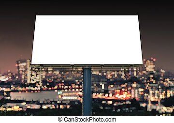 Large billboard against sky at night. 3D rendered ...