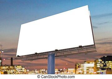 Large billboard against sky at sunset. 3D rendered illustration.