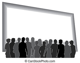 Large billboard - People are looking at a large blank...
