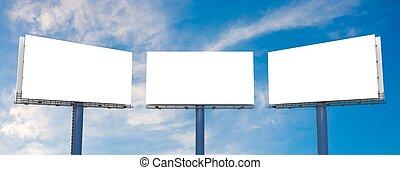 Large billboards against blue sky. 3D rendered illustration.