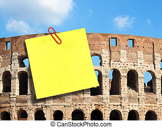 Large blank postit attached Colosseum Rome