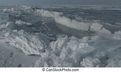 Large blocks of ice crack