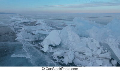 Large blocks of ice crack near Holy Nose Peninsula.