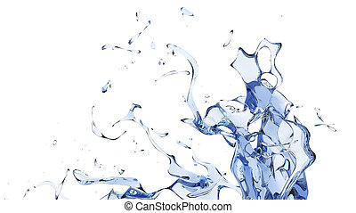 Large blue abstract water splash