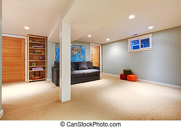 Large blue basement living room with sofa.